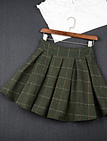 Women's High Rise Above Knee Skirts A Line Plaid