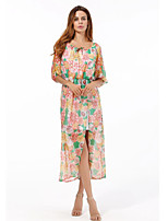 Women's Plus Size Casual/Daily Street chic Chiffon Dress,Print Round Neck Midi ½ Length Sleeve Polyester Summer Fall High Rise