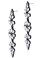 Hoop Earrings Crystal Flower Style Euramerican Fashion Chrome Silver Jewelry For Wedding Party Birthday Gift 1 pair