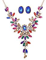 Schmuckset Halskette / Ohrringe Braut-Schmuck-Sets Kristall Strass Anhänger Stil Modisch Böhmen-Art Luxus-Schmuck BrautkleidungKrystall