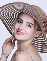 Women Flower Mesh Yarn Stripes Summer Shade Sunscreen Foldable Travel Seaside Beach Hat