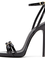 Women's Black Mirror Shiny Patent Leather Ankle Strap High Heel Sandals Ladies Covered Heel Summer Strappy Shoes Plus Size