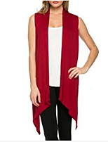 Women's Casual/Daily Work Simple Long Cardigan,Solid Halter Sleeveless Cotton Summer Thin Medium Micro-elastic