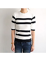 Women's Holiday Regular Cardigan,Striped Crew Neck ½ Length Sleeve Others Fall Medium Micro-elastic