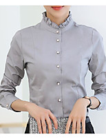 Women's Simple Shirt,Solid Stand Long Sleeve Polyester
