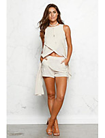 Women's Going out Casual/Daily Sexy Simple Blouse Skirt Suits,Solid Crew Neck Sleeveless Micro-elastic
