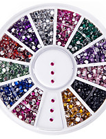 High Quality 2000 1.5mm Assorted Colors Round Glitter Nail Art Decorations Wheel Gems Rhinestones