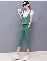 Women's Casual/Daily Cute Street chic Summer T-shirt Pant Suits,Solid Strap Short Sleeve Inelastic