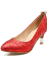 Золотой Серебряный Красный-Для женщин-Для прогулок Для офиса Для праздника Повседневный Для вечеринки / ужина-Дерматин-На шпильке-