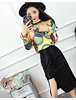 Women's Casual/Daily Simple Fall Shirt Dress Suits,Geometric Crew Neck Long Sleeve Cotton