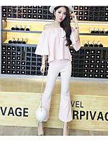 Damen einfarbig Einfach Lässig/Alltäglich T-Shirt-Ärmel Rock Anzüge,Schulterfrei Sommer ½ Ärmellänge Baumwolle