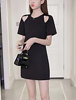 Для женщин На каждый день Большие размеры Уличный стиль Прямое Маленькое черное Платье Однотонный,Круглый вырез Мини С короткими рукавами