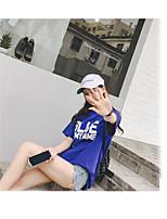 Women's Casual/Daily Holiday Simple Cute Summer T-shirt,Solid Print Round Neck Short Sleeve Others Thin