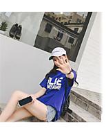 Mujer Simple Bonito Casual/Diario Vacaciones Verano Camiseta,Escote Redondo Un Color Estampado Manga Corta Otro Fino