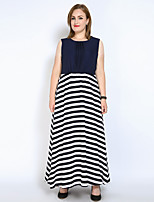 Really Love Women's Plus Size Beach Party Sexy Vintage Street chic Loose Chiffon Swing Dress,Striped Color Block Patchwork Round Neck Maxi Sleeveless