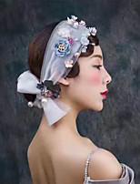 Pearl Fabric Headpiece-Wedding Special Occasion Hair Scarf 1 Piece