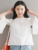 Women's Casual/Daily Simple Blouse,Embroidered Round Neck ¾ Sleeve Cotton