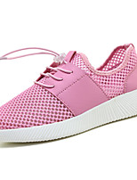 Women's Athletic Shoes Spring Fall Comfort Microfibre Casual Flat Heel Lace-up Black/Red Blushing Pink Black White Walking