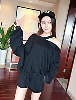 Women's Going out Party/Cocktail Sexy Cute T-shirt Skirt Suits,Solid Off Shoulder Long Sleeve