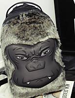 Women Backpack PU All Seasons Sports Outdoor Professioanl Use Camping & Hiking Climbing Bucket Fur Zipper Black