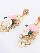 Boucles d'oreille goutte A Fleurs Naturel Amitié Mode Vintage Adorable Résine Alliage Forme de Fleur Bijoux PourMariage Soirée