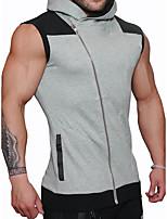 Sweat à capuche Homme Décontracté / Quotidien Sportif Actif simple Couleur Pleine Col de Chemise Micro-élastique Coton Sans Manches Eté