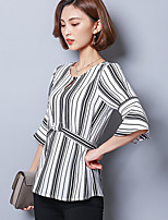 Women's Casual/Daily Simple T-shirt,Striped Round Neck ½ Length Sleeve Polyester