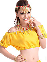 Shall We Belly Dance Tops Women Performance Chiffon Sequin 1 Piece Short Sleeve Tops