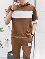 Men's Casual/Daily Simple Activewear Set Solid Color Block Hooded Micro-elastic Polyester Spandex Short Sleeve