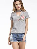 Damen Stickerei Street Schick Lässig/Alltäglich T-shirt,Rundhalsausschnitt Sommer Kurzarm Baumwolle Kunstseide Dünn