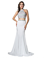 Formal Evening Dress Trumpet / Mermaid Halter Court Train Jersey with Beading