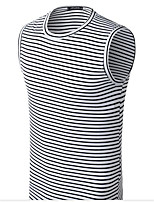 Men's Casual/Daily Simple T-shirt,Check Round Neck Sleeveless Cotton