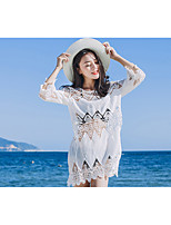 Women's Beach Holiday Simple T-shirt,Solid Round Neck ¾ Sleeve Others