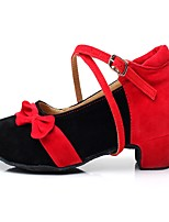 Non Customizable Women's Latin Velvet Paillette Heels Indoor Bowknot Sequin Buckle Cuban Heel Gold Silver Black/Red1