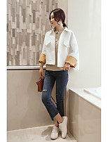 Women's Going out Simple Spring Denim Jacket,Solid Shawl Lapel Short Others