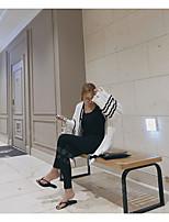 Longue Cardigan Femme Décontracté / QuotidienCouleur Pleine Col en V Manches Longues Coton Automne Hiver Moyen Non Elastique