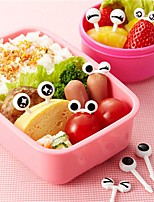 10Pcs/ Set  Cute Plastic Fruit Toothpick Lovely Eye Cartoon Forks Bento Decorative Tableware Facas Food Picks Fish Fork Dessert