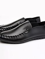 Белый Черный-Для мужчин-Повседневный-ПолиуретанУдобная обувь-Туфли на шнуровке