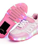 Белый Черный Розовый и белый-Девочки-Для прогулок Повседневный Для занятий спортом-Полиуретан-На низком каблуке-Light Up обувь Светящийся