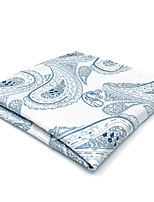 CH7 Classic Mens Pocket Square Handkerchiefs White Blue Paisley 100% Silk New Jacquard Woven Handmade