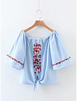 Women's Lace up Going out Casual/Daily Simple Street chic Fall Winter Shirt,Solid Shirt Collar Long Sleeve White Cotton Medium