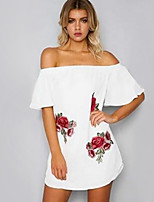 Women's Casual/Daily Beach Holiday Sexy Simple Cute Loose Skater Dress,Floral Boat Neck Mini Short Sleeve Rayon All Seasons SummerMid