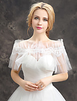 Women's Wedding Wrap Capelets Sleeveless Lace Tulle Wedding Party/Evening Draped Lace Rhinestone Grace Bride Shawl White Off-the-shoulder
