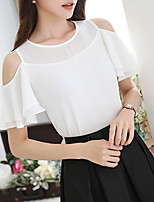 Women's Going out Sexy Summer Blouse,Solid Round Neck Short Sleeve Polyester Medium