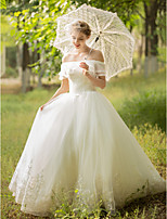 Ball Gown Wedding Dress - Sparkle & Shine Floor-length Off-the-shoulder Tulle with Appliques Beading