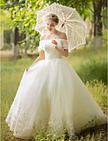 Robe de Soirée Robe de mariée - Elégant & Luxueux Scintillant & Brillant Longueur Sol Epaules Dénudées Tulle avec