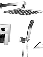 Contemporary Art Deco/Retro Modern Shower System Rain Shower Widespread Handshower Included with  Ceramic Valve Two Handles Two Holesfor