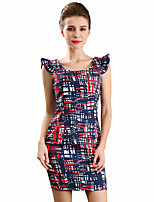 Women's Going out Party Sexy Cute A Line Dress,Patchwork V Neck Above Knee Sleeveless Polyester All Seasons Mid Rise Micro-elastic Medium