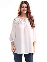 Dames Eenvoudig Lente Zomer Overhemd,Casual/Dagelijks Werk Effen V-hals Driekwart mouw Katoen Polyester Dun