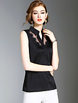 XSSLWomen's Going out Casual/Daily Holiday Simple Cute Street chic Summer BlouseSolid V Neck Sleeveless Polyester Medium